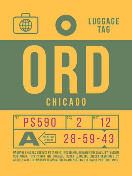 60s Digital Art - Retro Airline Luggage Tag 2.0 - Ord Chicago O'hare Airport United States by Ivan Krpan