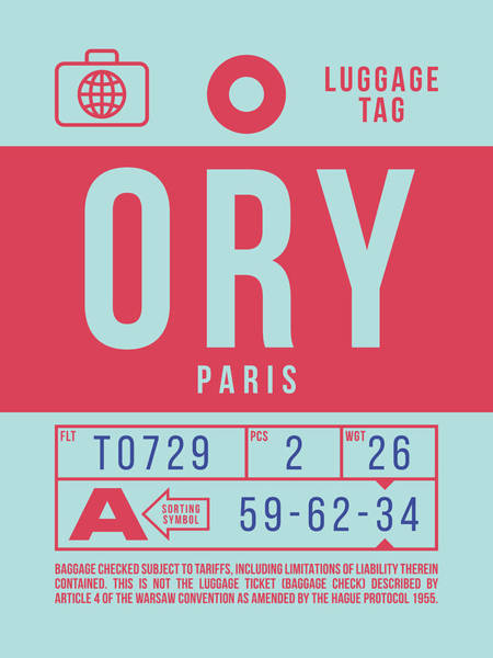 Wall Art - Digital Art - Retro Airline Luggage Tag 2.0 - Ory Paris Orly Airport France by Ivan Krpan