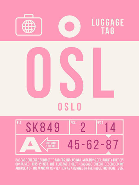 Wall Art - Digital Art - Retro Airline Luggage Tag 2.0 - Osl Oslo Airport Norway by Ivan Krpan