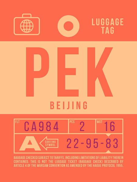 60s Digital Art - Retro Airline Luggage Tag 2.0 - Pek Beijing International Airport China by Ivan Krpan