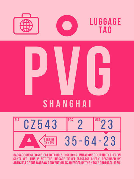 Wall Art - Digital Art - Retro Airline Luggage Tag 2.0 - Pvg Shanghai International Airport China by Ivan Krpan