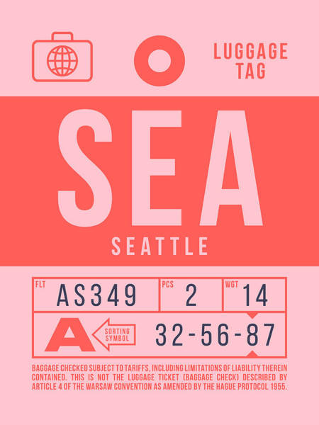 Wall Art - Digital Art - Retro Airline Luggage Tag 2.0 - Sea Seattle Tacoma Airport United States by Ivan Krpan