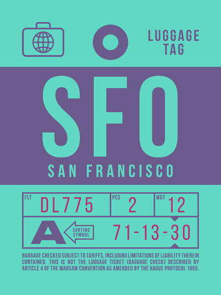 60s Digital Art - Retro Airline Luggage Tag 2.0 - Sfo San Francisco International Airport United States by Ivan Krpan