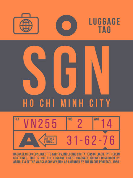 Wall Art - Digital Art - Retro Airline Luggage Tag 2.0 - Sgn Ho Chi Minh City International Airport Vietnam by Ivan Krpan