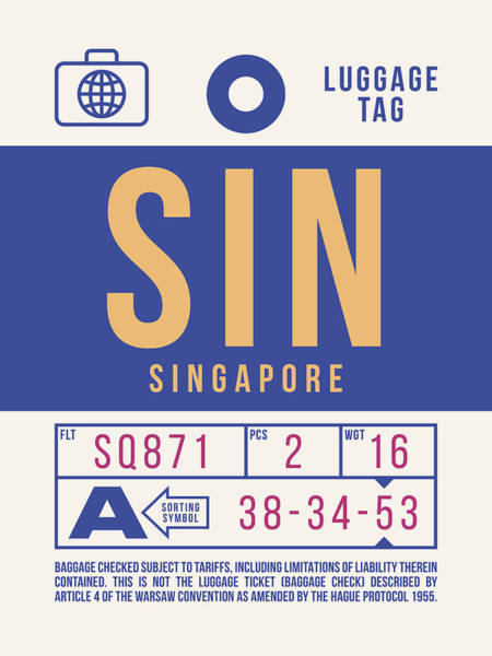 Wall Art - Digital Art - Retro Airline Luggage Tag 2.0 - Sin Singapore Changi Airport by Ivan Krpan