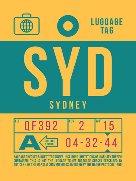 Wall Art - Digital Art - Retro Airline Luggage Tag 2.0 - Syd Sydney Kingsford Smith Airport Australia by Ivan Krpan