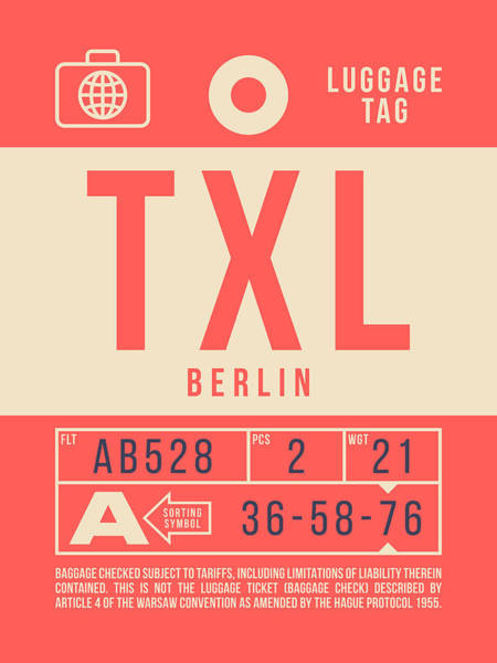 Wall Art - Digital Art - Retro Airline Luggage Tag 2.0 - Txl Berlin Tegel Airport Germany by Ivan Krpan