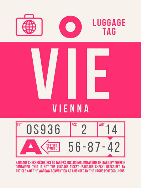 Wall Art - Digital Art - Retro Airline Luggage Tag 2.0 - Vie Vienna International Airport Austria by Ivan Krpan