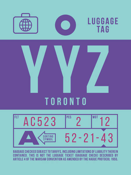 Wall Art - Digital Art - Retro Airline Luggage Tag 2.0 - Yyz Toronto International Airport Canada by Ivan Krpan