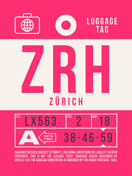 Wall Art - Digital Art - Retro Airline Luggage Tag 2.0 - Zrh Zurich International Airport Switzerland by Ivan Krpan