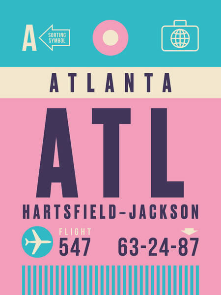 60s Digital Art - Retro Airline Luggage Tag - Atl Atlanta by Ivan Krpan