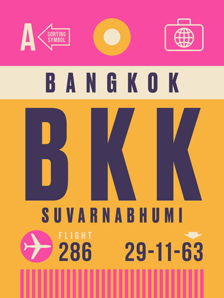 60s Digital Art - Retro Airline Luggage Tag - Bkk Bangkok Thailand by Ivan Krpan