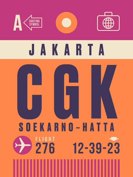 60s Digital Art - Retro Airline Luggage Tag - Cgk Jakarta Indonesia by Ivan Krpan