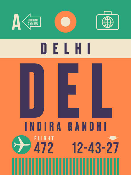 60s Digital Art - Retro Airline Luggage Tag - Del Delhi Airport by Ivan Krpan