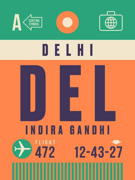 Airport Wall Art - Digital Art - Retro Airline Luggage Tag - Del Delhi Airport by Ivan Krpan