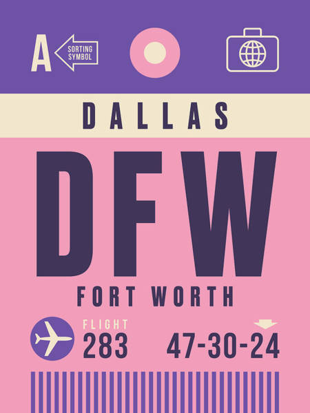 60s Digital Art - Retro Airline Luggage Tag - Dfw Dallas Fort Worth United States by Ivan Krpan