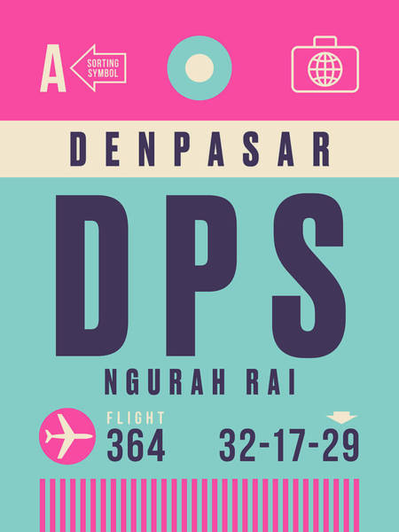 60s Digital Art - Retro Airline Luggage Tag - Dps Denpasar Bali Indonesia by Ivan Krpan