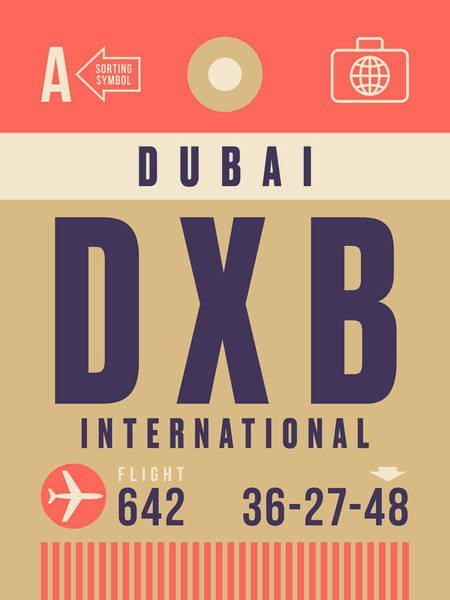 60s Digital Art - Retro Airline Luggage Tag - Dxb Dubai by Ivan Krpan