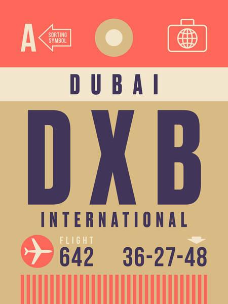 Airport Wall Art - Digital Art - Retro Airline Luggage Tag - Dxb Dubai by Ivan Krpan