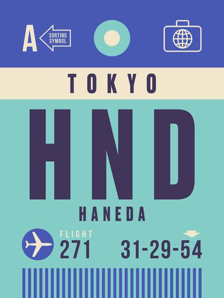 Boarding Wall Art - Digital Art - Retro Airline Luggage Tag - Hnd Tokyo Haneda Japan by Ivan Krpan