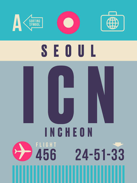 60s Digital Art - Retro Airline Luggage Tag - Icn Seoul Incheon by Ivan Krpan