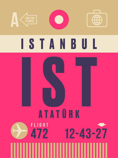 60s Digital Art - Retro Airline Luggage Tag - Ist Istanbul Airport by Ivan Krpan