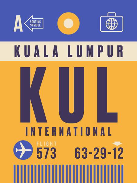 Airport Wall Art - Digital Art - Retro Airline Luggage Tag - Kul Kuala Lumpur Airport by Ivan Krpan
