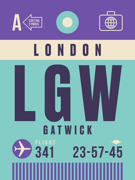 60s Digital Art - Retro Airline Luggage Tag - Lgw London Gatwick Airport by Ivan Krpan