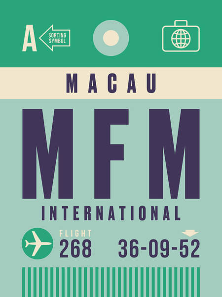 60s Digital Art - Retro Airline Luggage Tag - Mfm Macau by Ivan Krpan