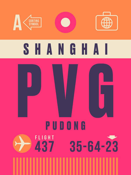 60s Digital Art - Retro Airline Luggage Tag - Pvg Shanghai China by Ivan Krpan