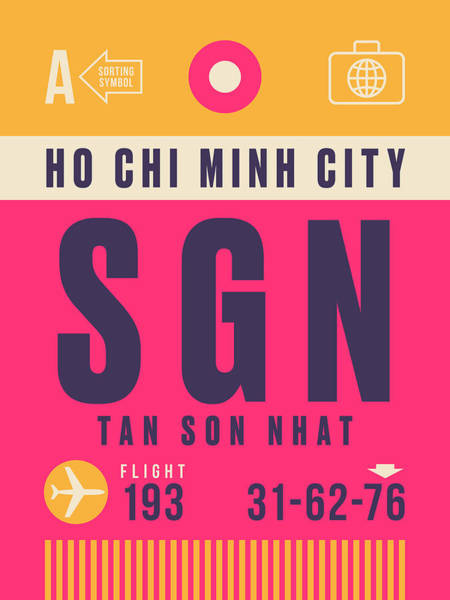 60s Digital Art - Retro Airline Luggage Tag - Sgn Ho Chi Minh City Vietnam by Ivan Krpan