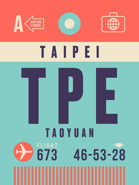 60s Digital Art - Retro Airline Luggage Tag - Tpe Taipei Taiwan by Ivan Krpan