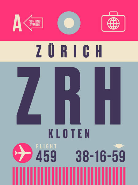 60s Digital Art - Retro Airline Luggage Tag - Zrh Zurich Airport Switzerland by Ivan Krpan