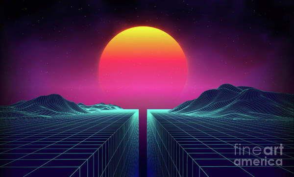 Neon Blue Digital Art - Retro Background Futuristic Landscape by Damiengeso