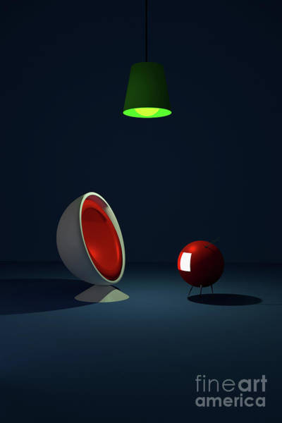 Digital Art - Retro Ball Chair And Tv by Clayton Bastiani
