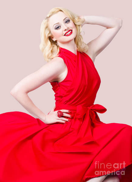 Photograph - Retro Blond Pinup Woman Wearing A Red Dress by Jorgo Photography - Wall Art Gallery