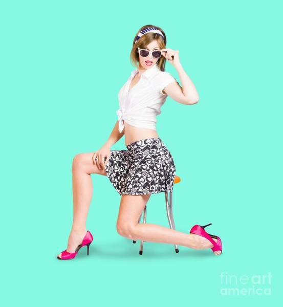 Pinup Photograph - Retro Brunette Pin Up Girl In Sixties Fashion by Jorgo Photography - Wall Art Gallery
