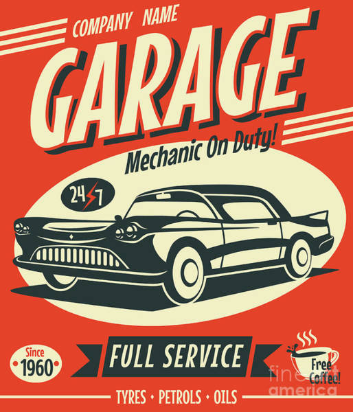 Wall Art - Digital Art - Retro Car Service Sign. Vector by Laralova