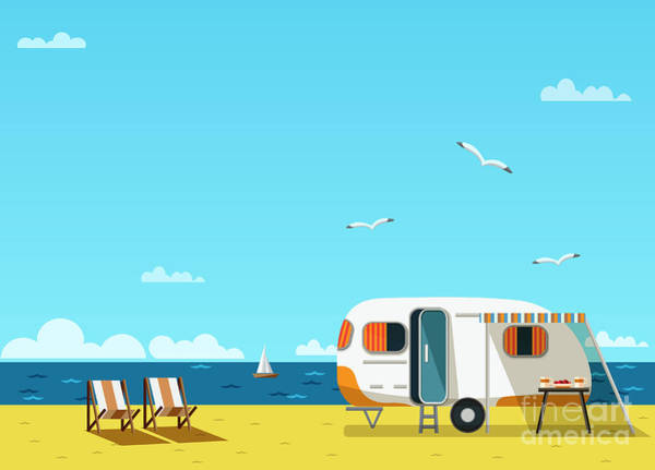 Camper Wall Art - Digital Art - Retro Caravan On The Beach, Summer by Skoreya