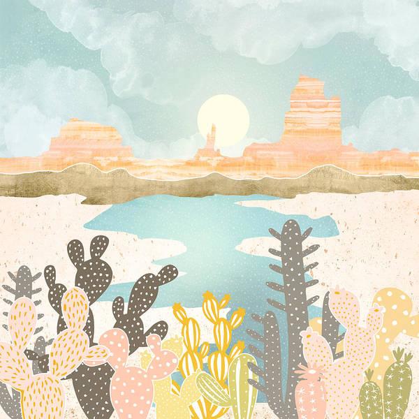 Water Plant Digital Art - Retro Desert Oasis by Spacefrog Designs
