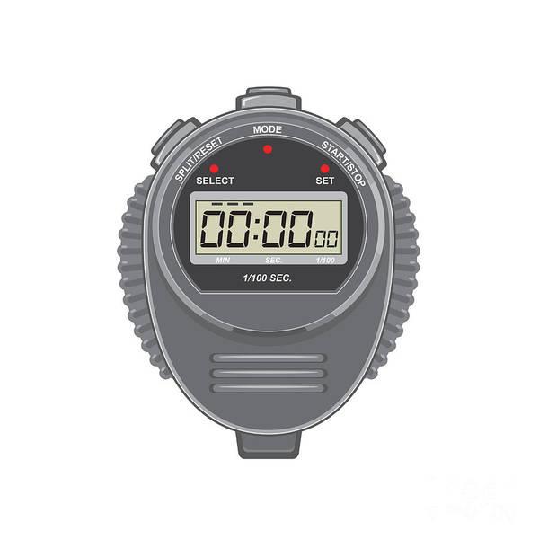 Count Digital Art - Retro Digital Stopwatch by Aloysius Patrimonio