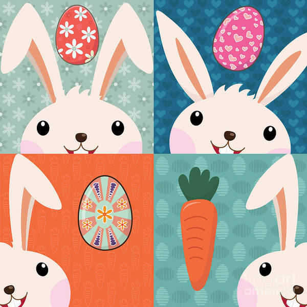 Event Wall Art - Digital Art - Retro Easter Bunny With Painted Eggs by Jayz
