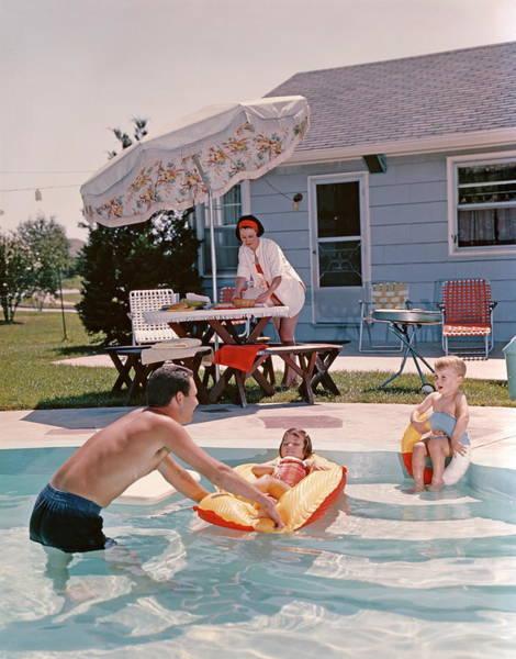 Retro Family In Backyard, Showing An Art Print