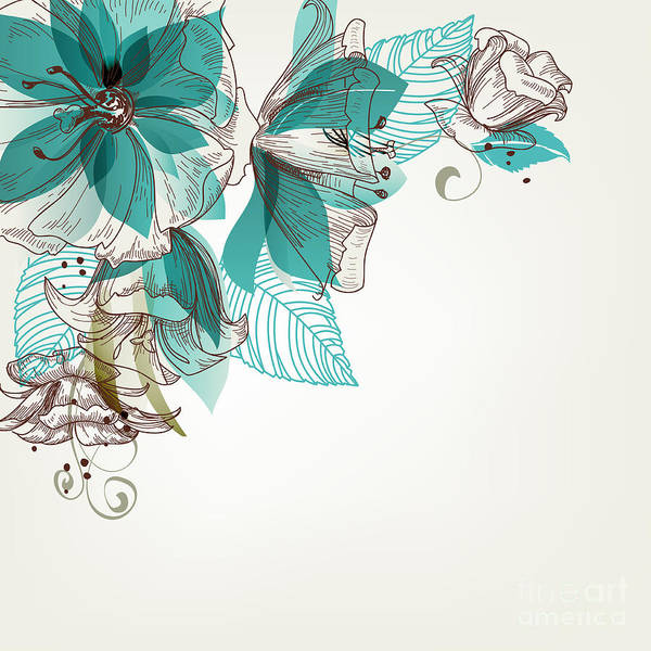Border Wall Art - Digital Art - Retro Flowers Vector Illustration by Danussa