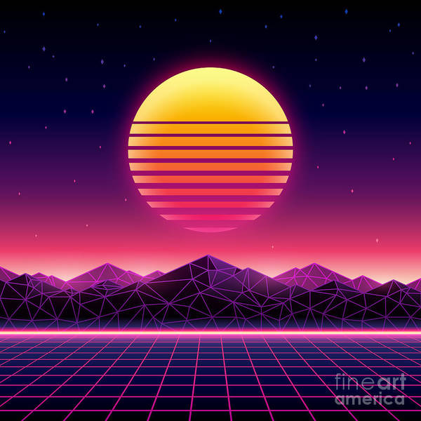 Wall Art - Digital Art - Retro Futuristic Background 1980s by Kelvin Degree