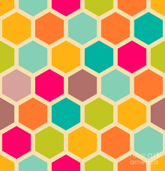 Repetition Wall Art - Digital Art - Retro Geometric Hexagon Seamless Pattern by Victoria Kalinina