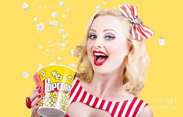 Ticket Photograph - Retro Girl Taking Popcorn To Cinema by Jorgo Photography - Wall Art Gallery