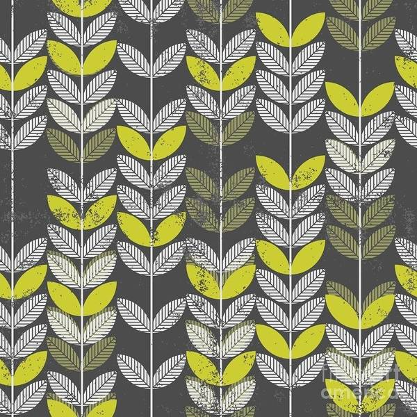 Wall Art - Digital Art - Retro Green Leaves On Branches On Dark by Demonique