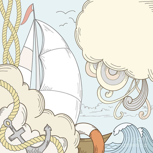Mast Wall Art - Digital Art - Retro Hand Draw Styled Sea And Sailor by Alexeyzet