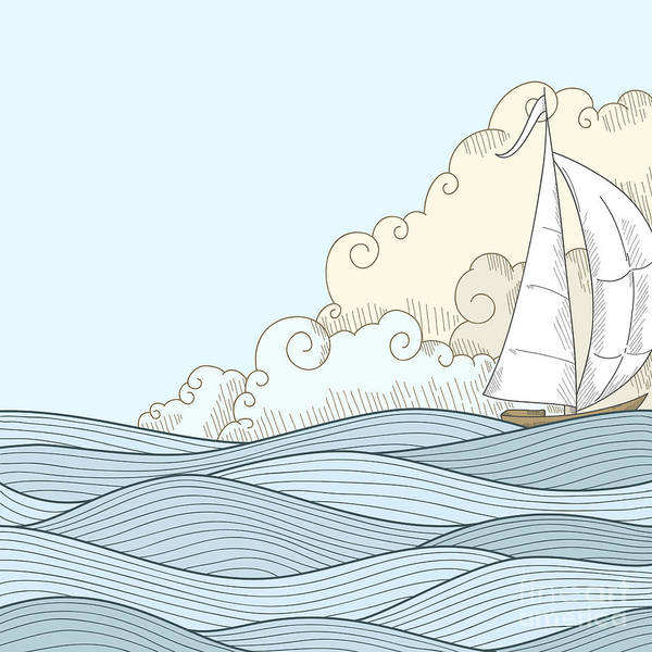 Wall Art - Digital Art - Retro Hand Draw Styled Sea With Clouds by Alexeyzet